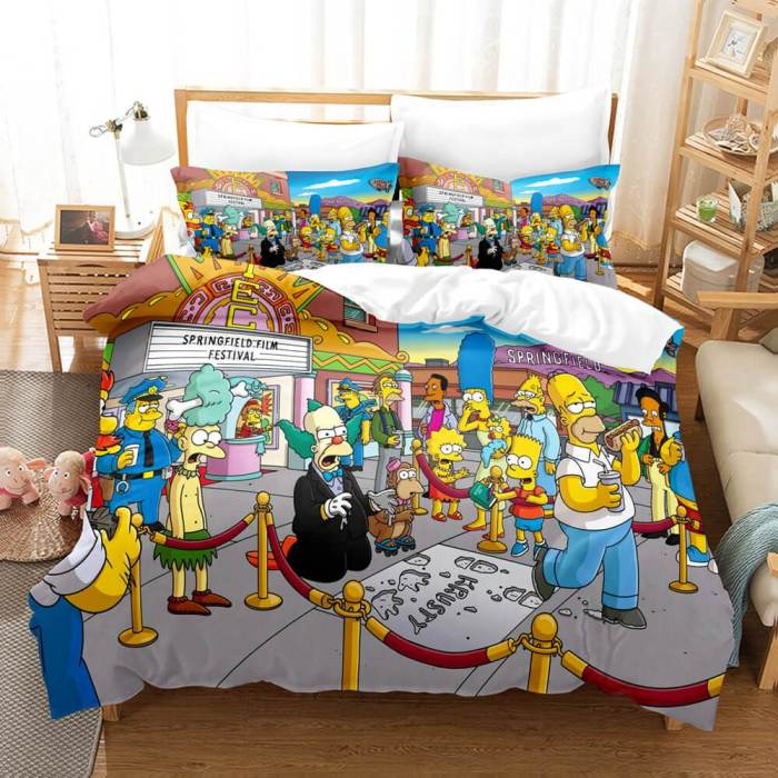 The Simpsons Cosplay Bedding Set Duvet Cover Comforter Bed Sheets