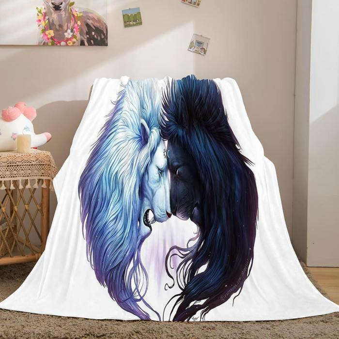 Fiercely Lion Flannel Blanket Comforter Bedding Sets Bed Blanket