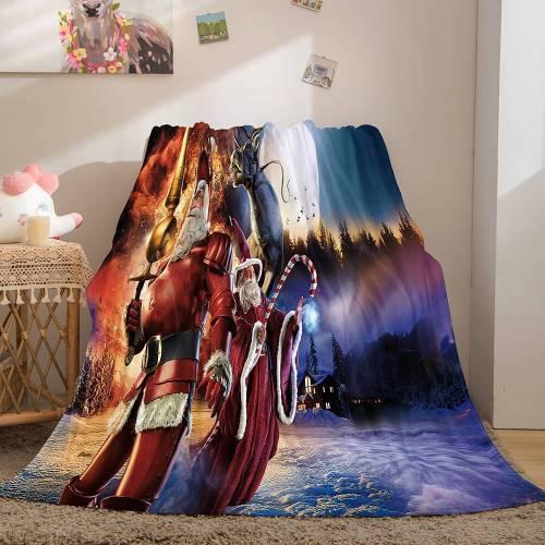 Christmas Theme Flannel Fleece Throw Cosplay Blanket Comforter Set