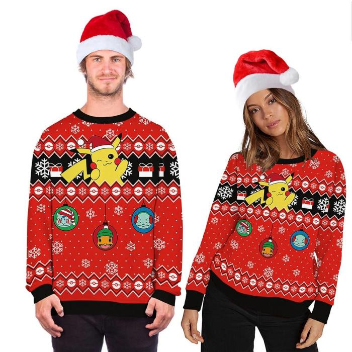 Fashion Winter Ugly Christmas Sweater Funny 3D Cartoons Printing Round Neck Sweater For Young People Casual Funny Hooded