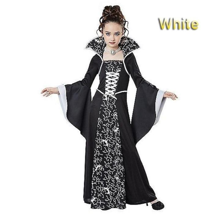 Halloween Costume For Kids Girls Flared Sleeves Royal Vampire Costume Girl Medieval Long Sleeve Dress Costume For Party Cosplay