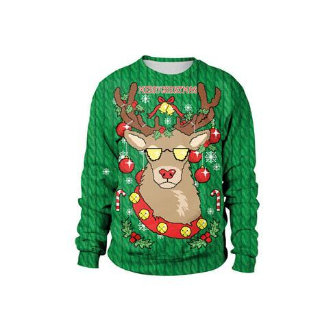 Ugly Christmas Sweater Unisex 3D  Print Round Neck  Autumn  Winter  Clothing Long Sleeve Tops