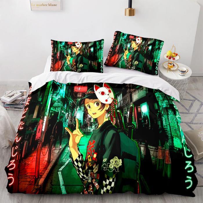 Demon Slayer Cosplay Bedding Set Duvet Cover Comforter Bed Sheets