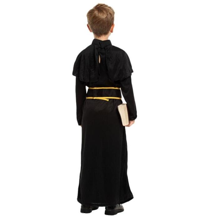Halloween Medieval Missionary Cosplay Costumes For Father Children With Belt Costume Sets Carnival Cosplay Kids
