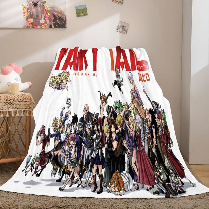 Anime Fairy Tail Flannel Caroset Throw Cosplay Blanket Comforter Set