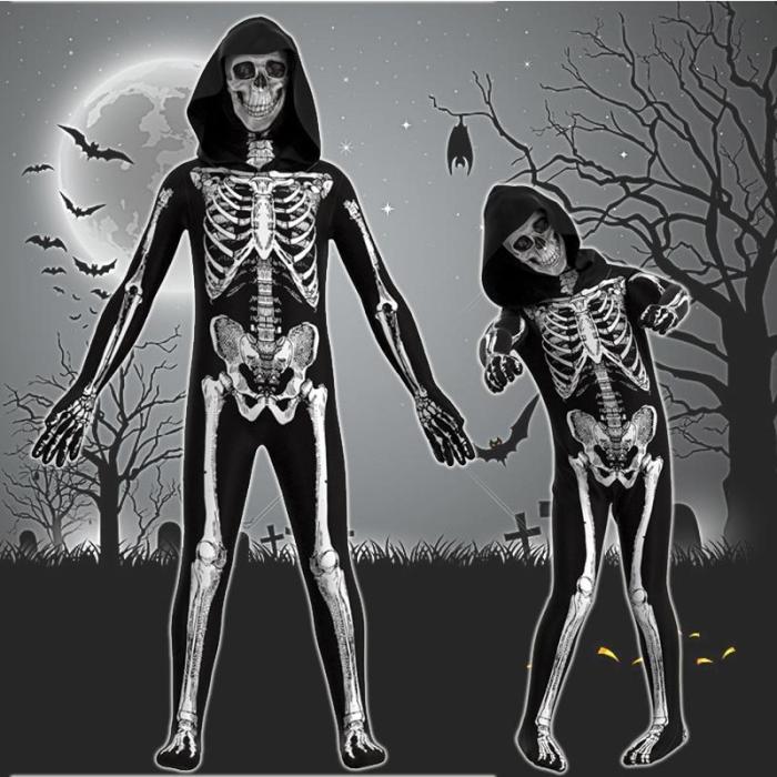 Halloween Kids Adult Skeleton Skull Costumes Scary Zombie Cosplay Jumpsuit