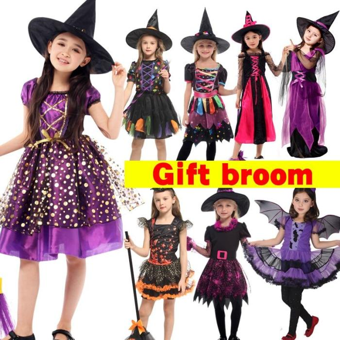 Halloween Anime Costumes Kids Gril Scary Witch Vampire Cosplay Fancy Carnival Suit Christmas Medieval Dress Up