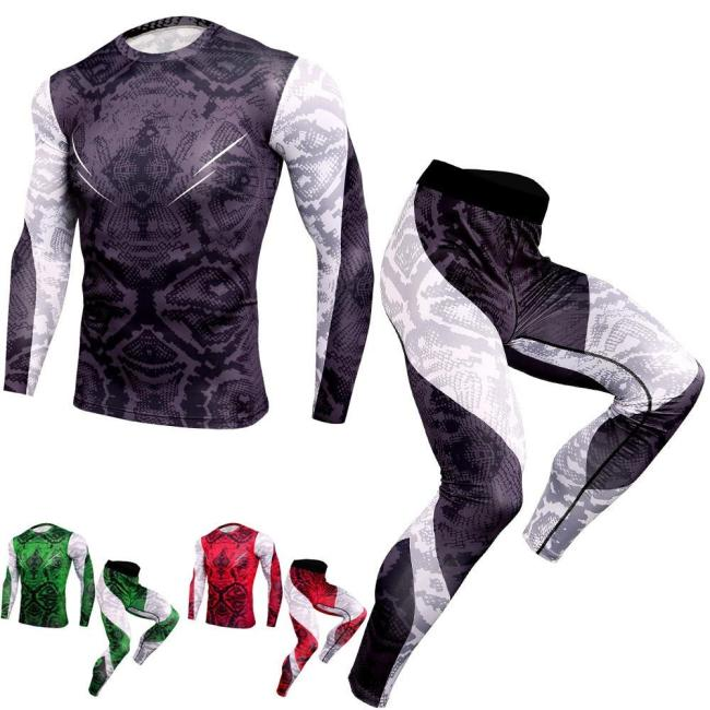 Fashion  Fitness Compression Sets T Shirt Men 3D Printed Mma Bodybuilding Muscle Shirt Leggings Base Layer Tight Tops