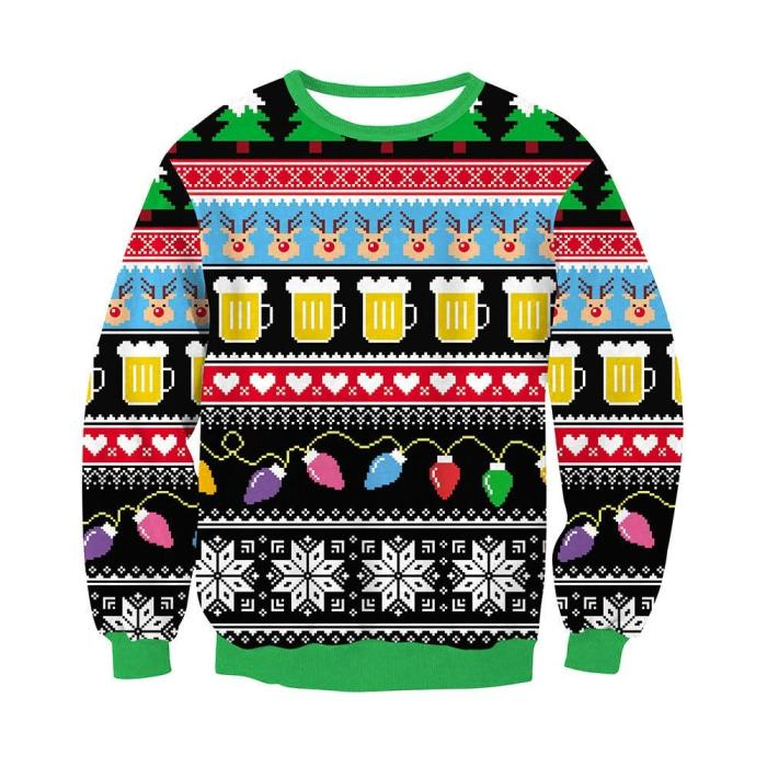 Fashion Women Ugly Christmas Sweater 3D Printing Long Sleeve Round Neck Pullover Tops