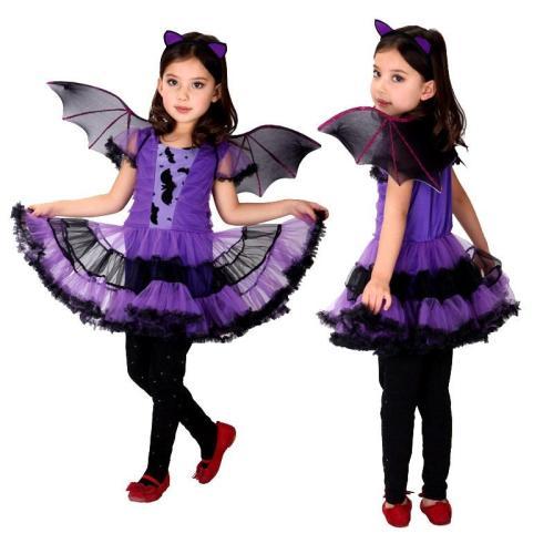 Halloween Fancy Masquerade Party Purple Bat Girl Costume Children Cosplay Dance Dress Costumes For Kids Dress