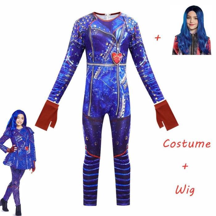 Descendants 3 Mal Bertha Maleficent Long Live Evie Straight Purple Kids Adult Cosplay Wig + Jumpsuits Halloween Costume For Kids