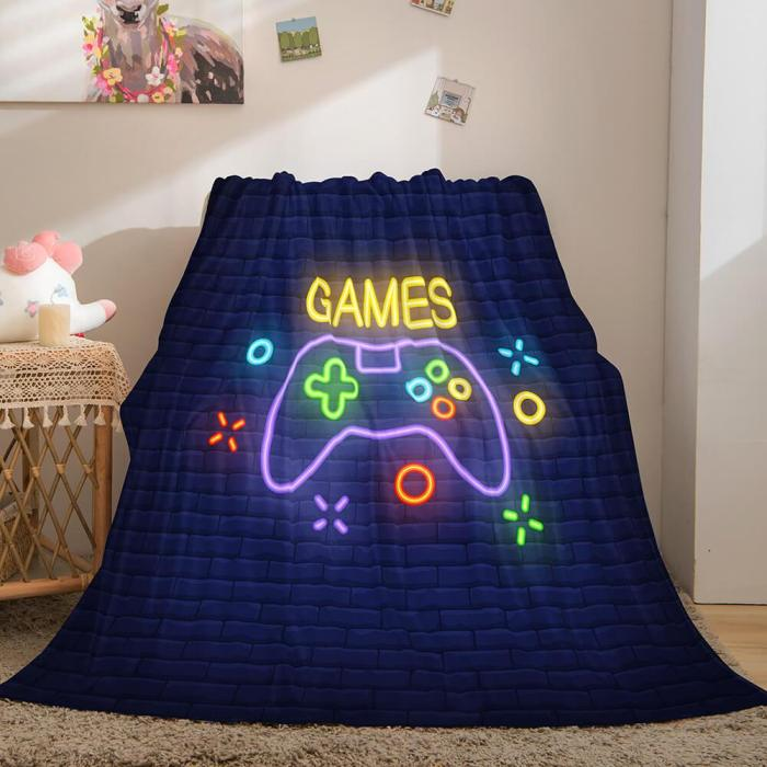 Gamepad Flannel Blanket Fleece Throw Blanket Wrap Nap Bedding Sets