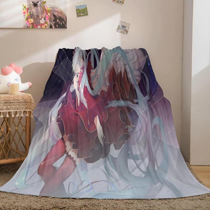 Hatsune Miku Flannel Blanket Cosplay Throw Blanket Comforter Sets