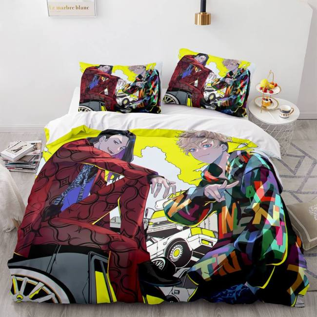 Tokyo Revengers Cosplay 3 Piece Bedding Set Duvet Cover Bed Sheets