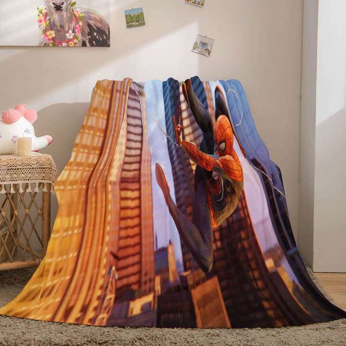 Spiderman Flannel Fleece Throw Cosplay Blanket Halloween Comforter Set