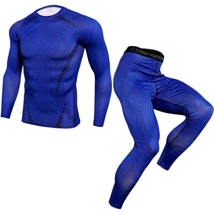 Compression Running Sets Men Joggers Sports Suits Quick Dry Gym Fitness Training Tracksuit Long T Shirt + Pants Sportswear