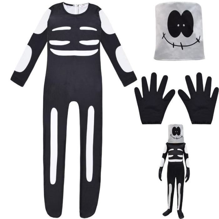 Anime Friday Night Funkin Cute Spooky Month Skid Pump Cosplay Costume Kids Boys Halloween Jumpsuit Mask Skeleton Skull Clothes