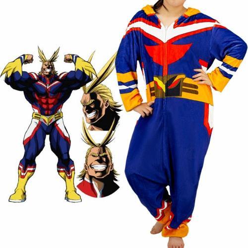 Adult Unisex Cartoon Pajamas Anime My Hero Academia All Might Cosplay Bathrobe Flannel Jumpsuit