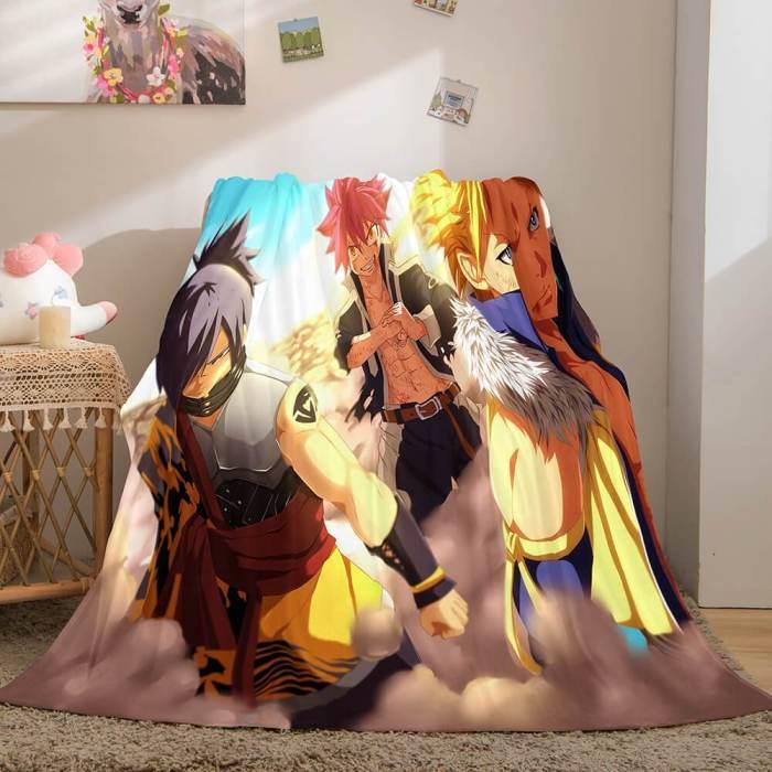 Fairy Tail Flannel Caroset Throw Cosplay Blanket Comforter Set