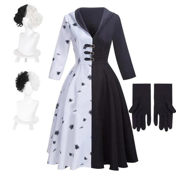 Movie Cruella De Ville Cosplay Costume Women Girls Gown Black White Dress With Gloves Wig Halloween Carnival Party Costumes