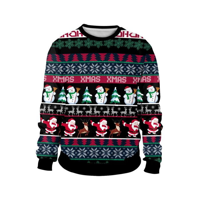 Fashion Ugly Christmas Sweater 3D Printing Funny Round Neck Couple Long Sleeve Pullover