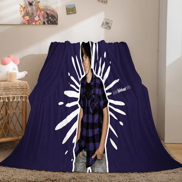 Singer Justin Bieber Flannel Fleece Throw Blanket Comforter Set