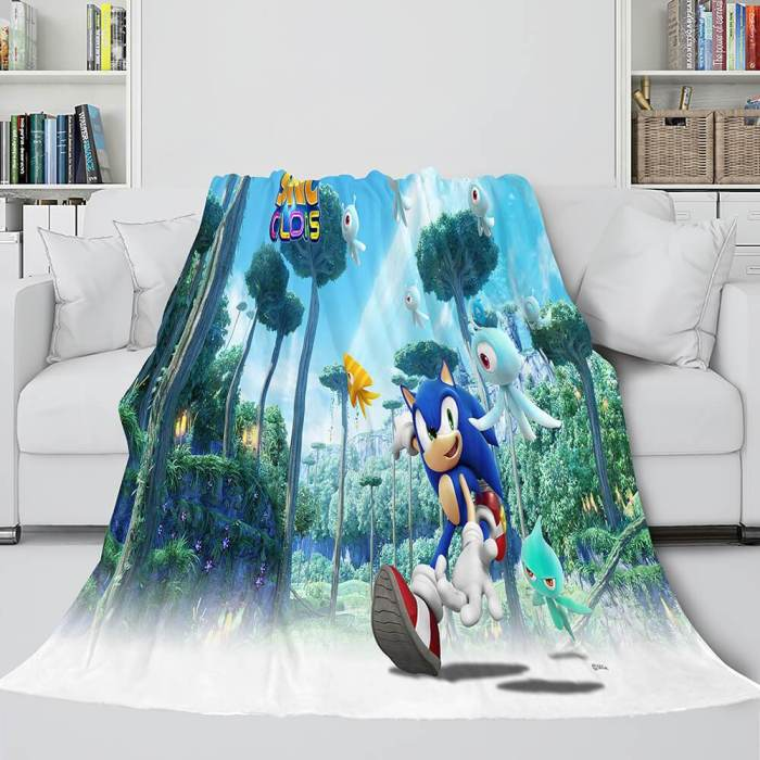 Sonic The Hedgehog Flannel Throw Cosplay Blanket Comforter Set