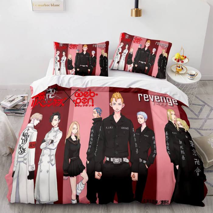 Tokyo Revengers Cosplay 3-Piece Bedding Sets Duvet Covers Bed Sheets