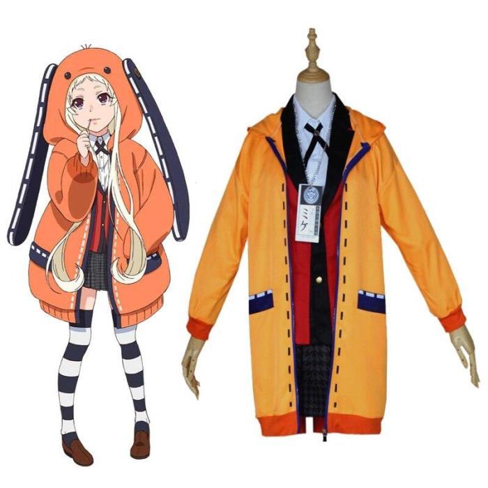 Cosplay Costumes Kakegurui Yumeko Jabami Yomotsuki Runa Japanese School Girls Uniform Full Set Jacket+Shirt+Skirt+Stockings+Tie