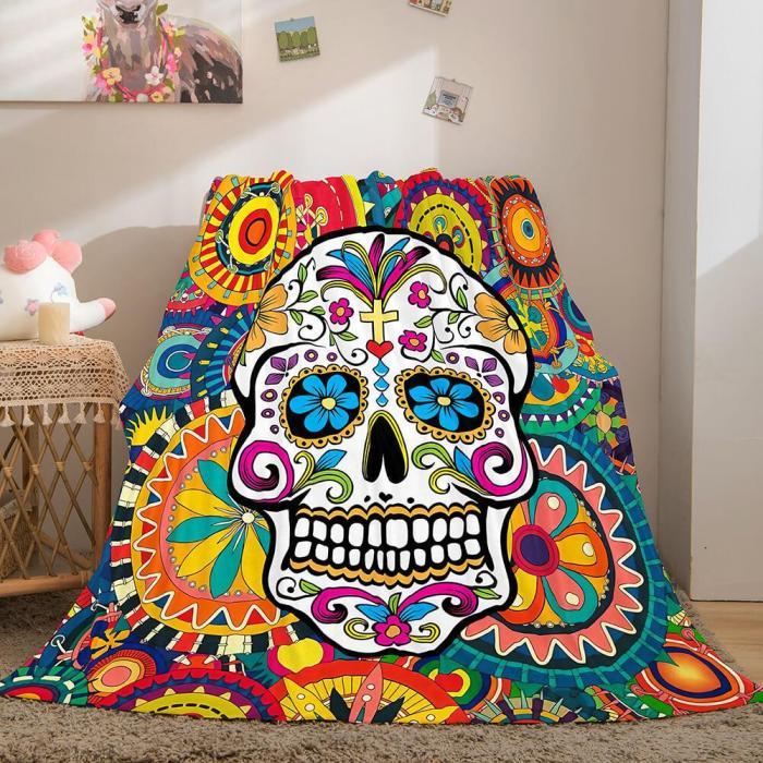 Halloween Horror Skull Flannel Fleece Blanket Skeleton Throw Blanket