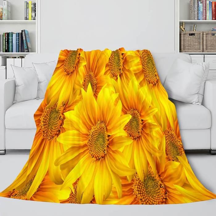 Flower Flannel Fleece Throw Cosplay Blanket Comforter Set
