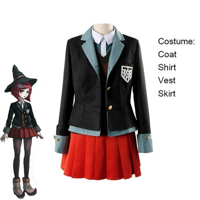 Yumeno Himiko Anime Danganronpa Cosplay Halloween Party Woman Japanese Uniform Cosplay Costumes Coat+Shirt+Vest+Skirt+Hat