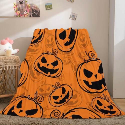 Halloween Pumpkin Flannel Fleece Throw Cosplay Blanket Comforter Sets