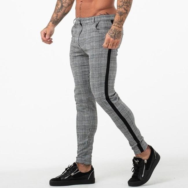 Men'S Casual Pants Ankle-Length Elastic Strap Plaid Jogger Sports Fitness Sweatpants Long Pants
