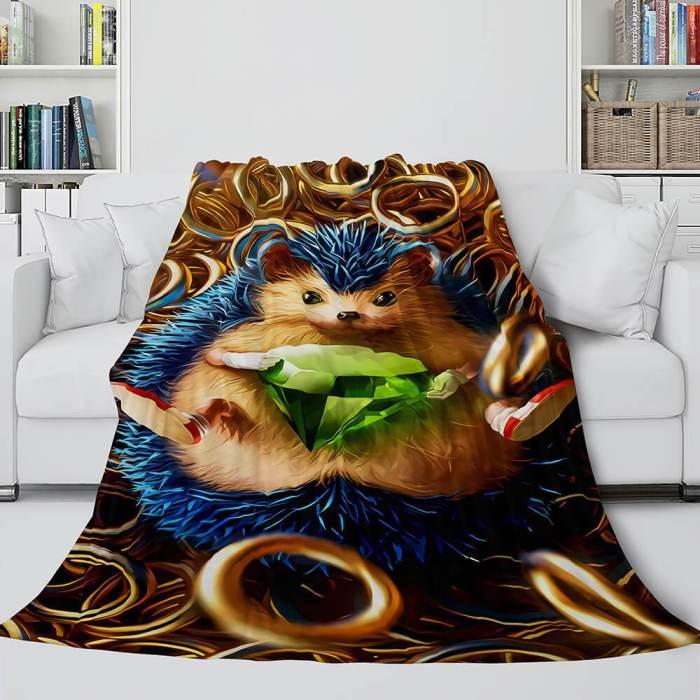 Sonic Cosplay Blanket Flannel Throw Comforter Set