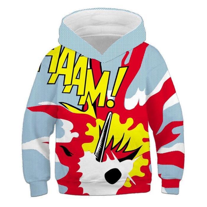 Kids Clothes Boys Boom Pop 3D Print Hoodies Children'S Clothing Cartoon Cat Long Sleeve For Girls Autumn Personality Sweatshirts