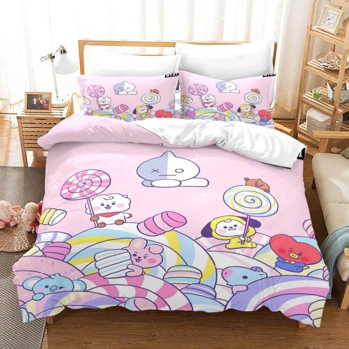 Bt21 Bedding Set Duvet Cover Comforter Bed Sheets