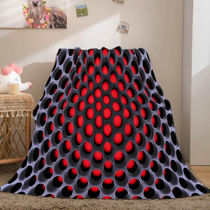 Honeycomb Shape Flannel Fleece Throw Blanket Comforter Bedding Sets