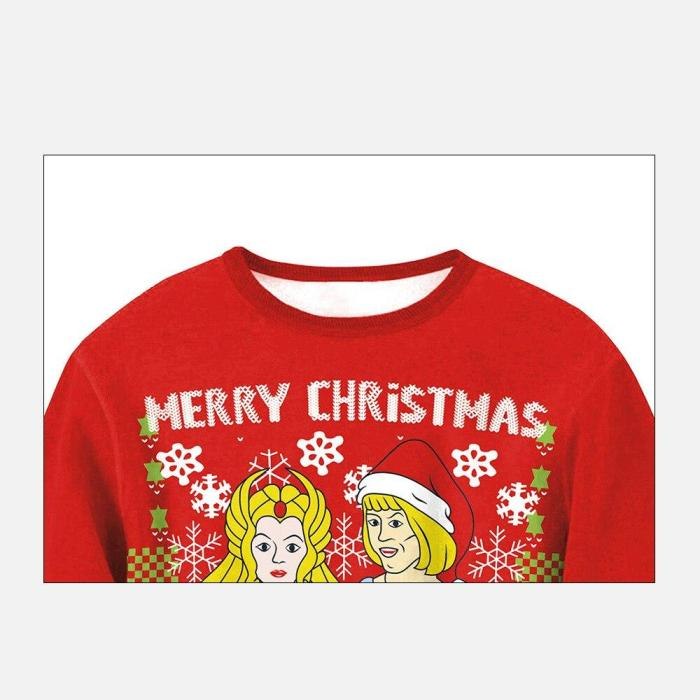 Couple Fashion Ugly Christmas Sweater 3D Printing Casual Long Sleeve O-Neck Pullover