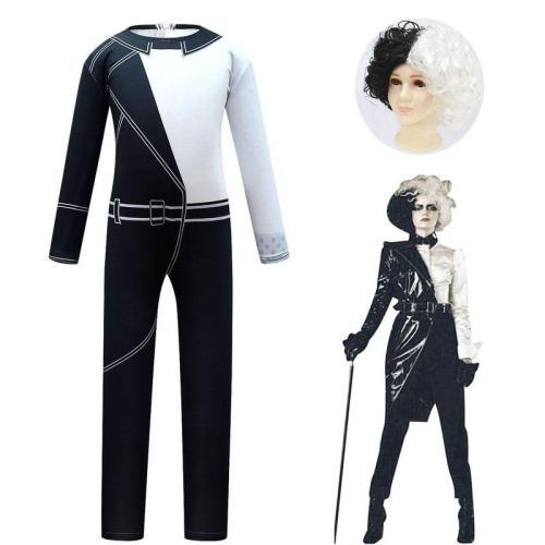 Movie Cruella De Vil Cosplay Costume Kids Black White Maid Jumpsuit Halloween Girls Party Dress With Wig