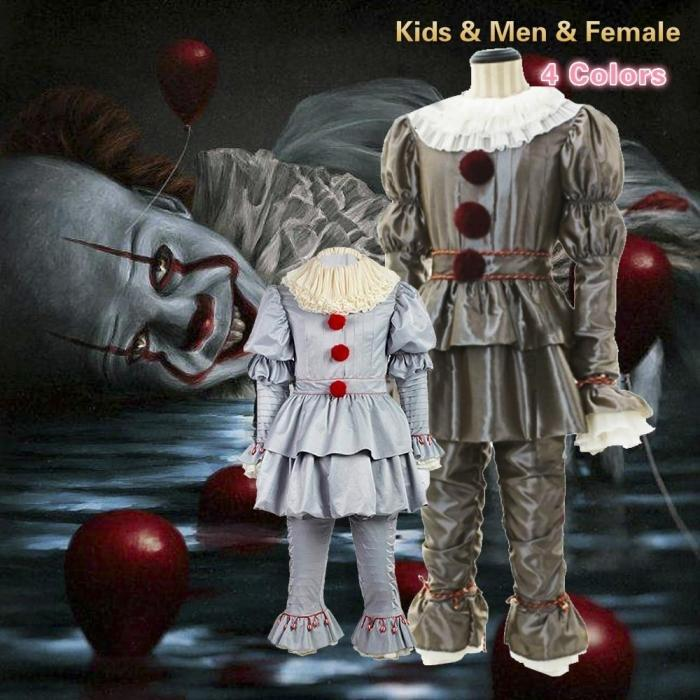 Pennywise Halloween Costume It Clown Adult Cosplay Costume Halloween Party (Men & Female & Kids )