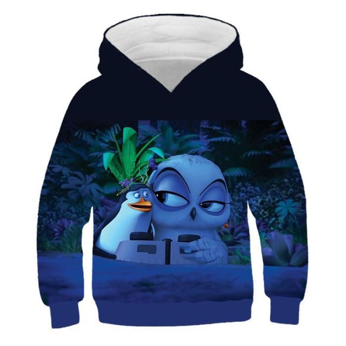 Children Harajuku Anime Cartoon Hoodies Movie Penguin Series Kawaii Clothes Boy Girl 3D Hooded Sweatshirts Kids Autumn Pullover
