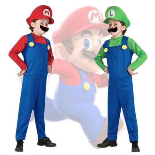 Child Super Mari Bros Cosplay Suit Kids Anime Fantasy Romper Boy Girl Halloween Party Long Sleeve Dress Hat Costume
