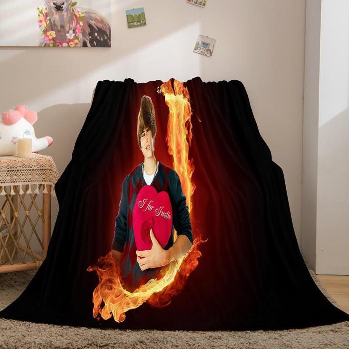 Super Star Justin Bieber Flannel Fleece Throw Blanket Comforter Set