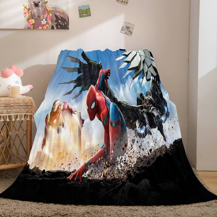 Spiderman Flannel Fleece Throw Cosplay Blanket Shawl Wrap Nap Quilt