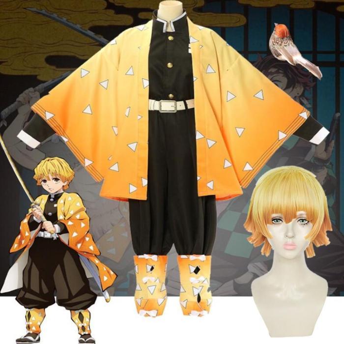 Adult Kids Demon Slayer Cosplay Costume Agatsuma Zenitsu Kimetsu No Yaiba Men Kimono Anime Yellow Uniform