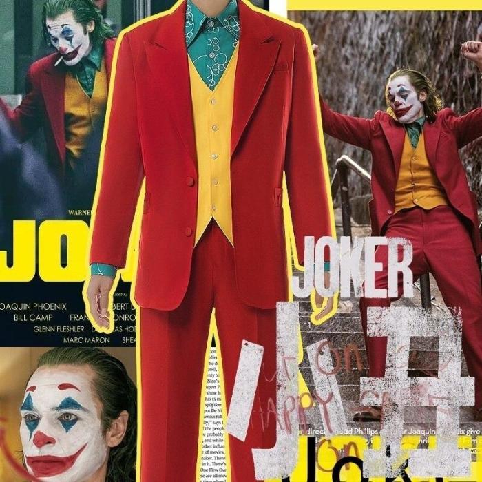 Movie Joker Cosplay Suit Full Set Outfits Men'S Halloween Costumes The Joker Uniform Red Suit Halloween Men Women Outfit+Mask