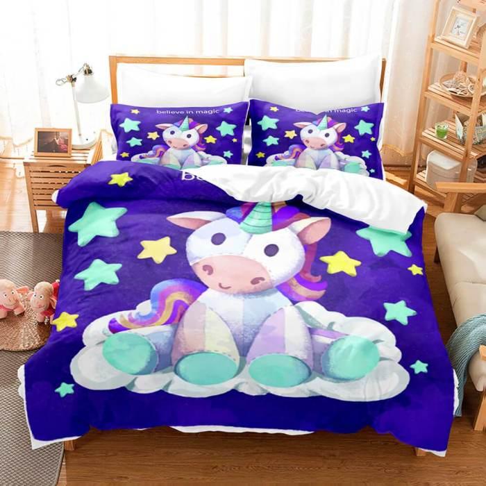 Cute Kids Girls Unicorn Bedding Set Duvet Covers Comforter Bed Sheets