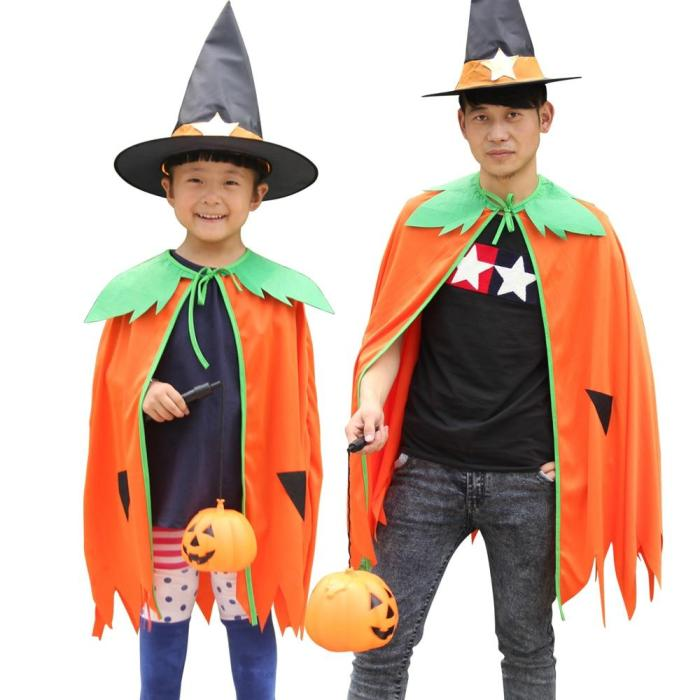 Halloween   Arrival Pumpkin Cloak Attached Hat Fancy Dress Party Adults Kids Outfits Dress Up