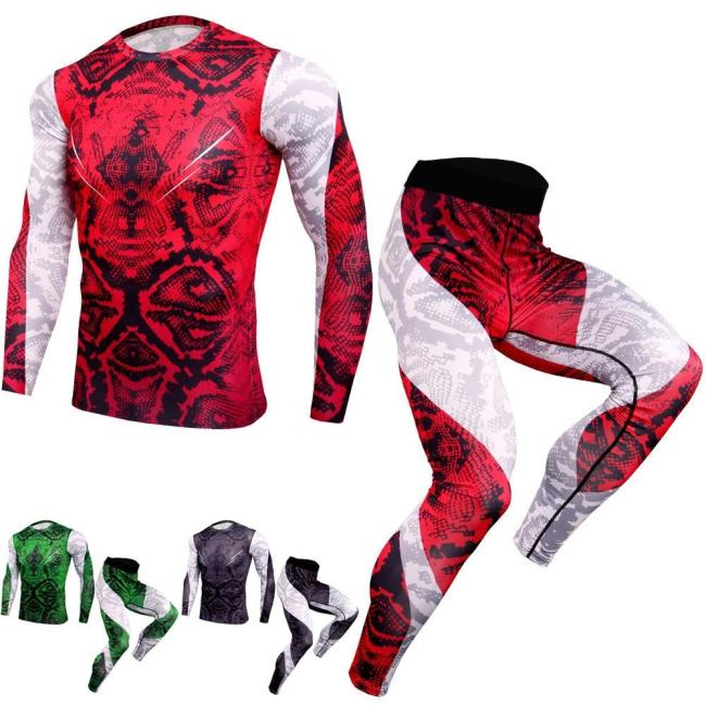 Fashion T Shirt Men 3D Printed Mma Bodybuilding Muscle Shirt Leggings Base Layer Tight Tops Fitness Compression Sets